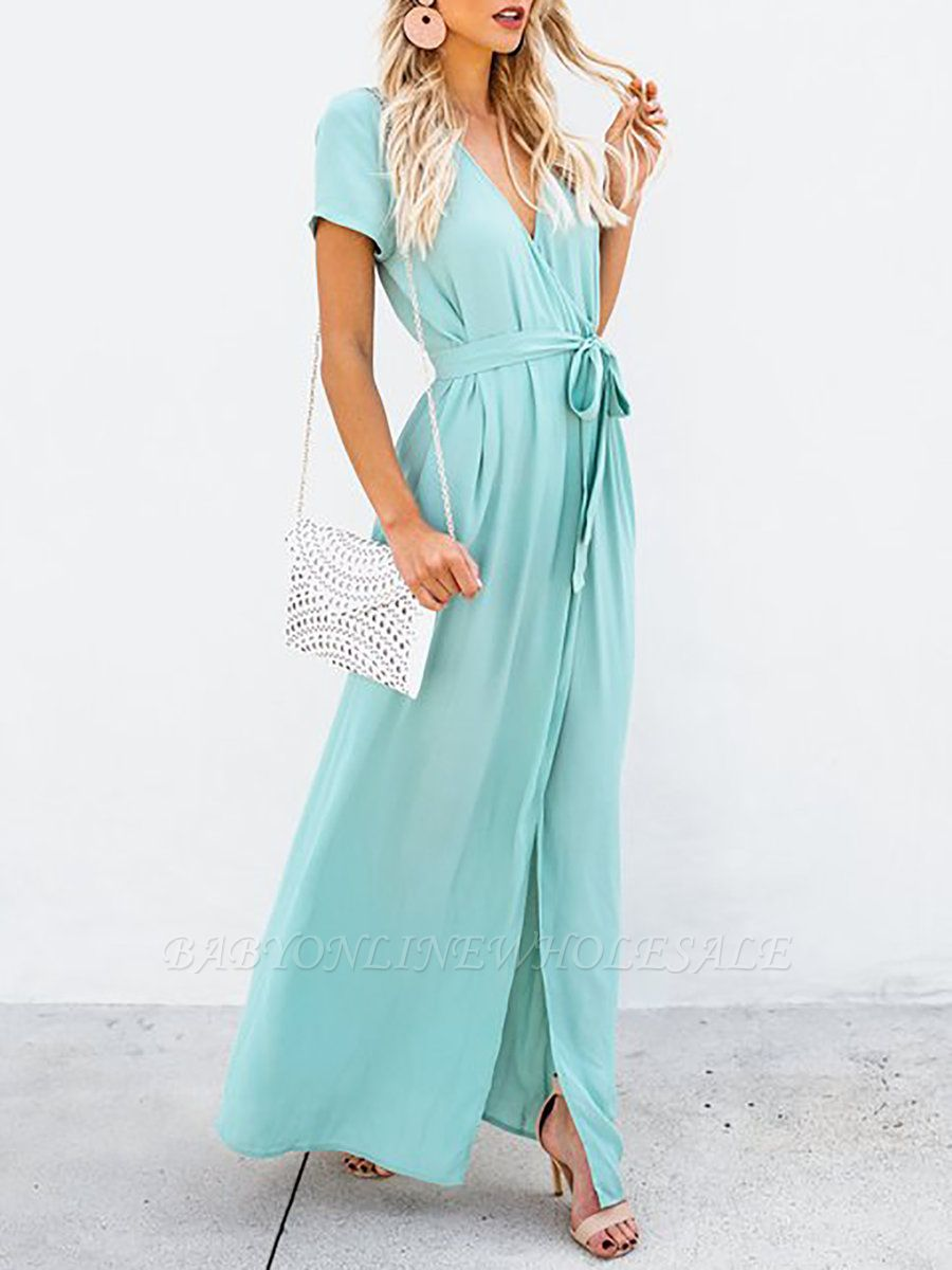 Surplice Neck Maxi Dress Beach Dress Short Sleeve Holiday Wrap Solid Dress