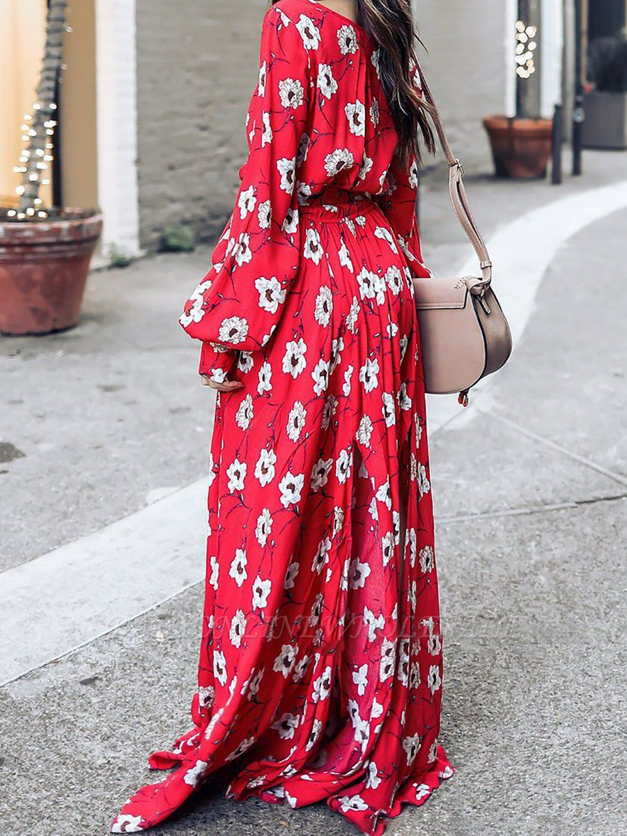 Surplice Neck Red Maxi Dress A-line Dress Balloon Sleeve Boho Slit Floral Dress