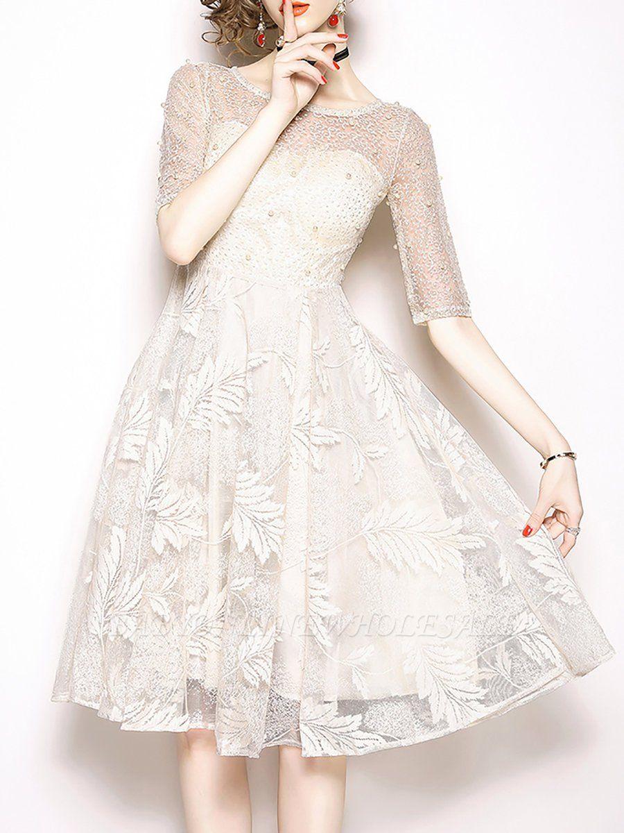 White Flounce Elegant Crew Neck Lace Beaded Guipure lace A-line Midi Dresses