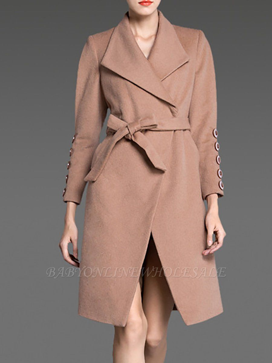 Apricot Long Sleeve Solid Buttoned Pockets Coat