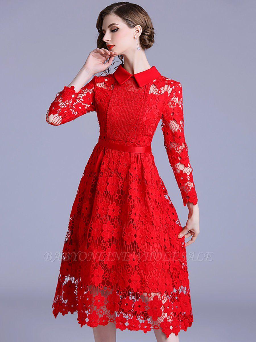Elegante Rote Kleider Spitze Langarm  Schöne Spitze Kleider Knielang