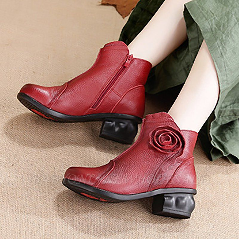 Daily Flower Round Toe Zipper Chunky Heel Boots