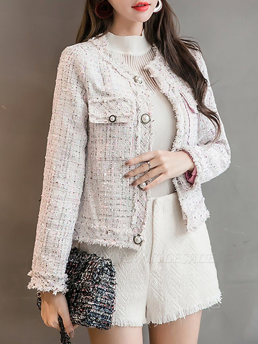 Checkered/Plaid Buttoned Work Pockets Coat