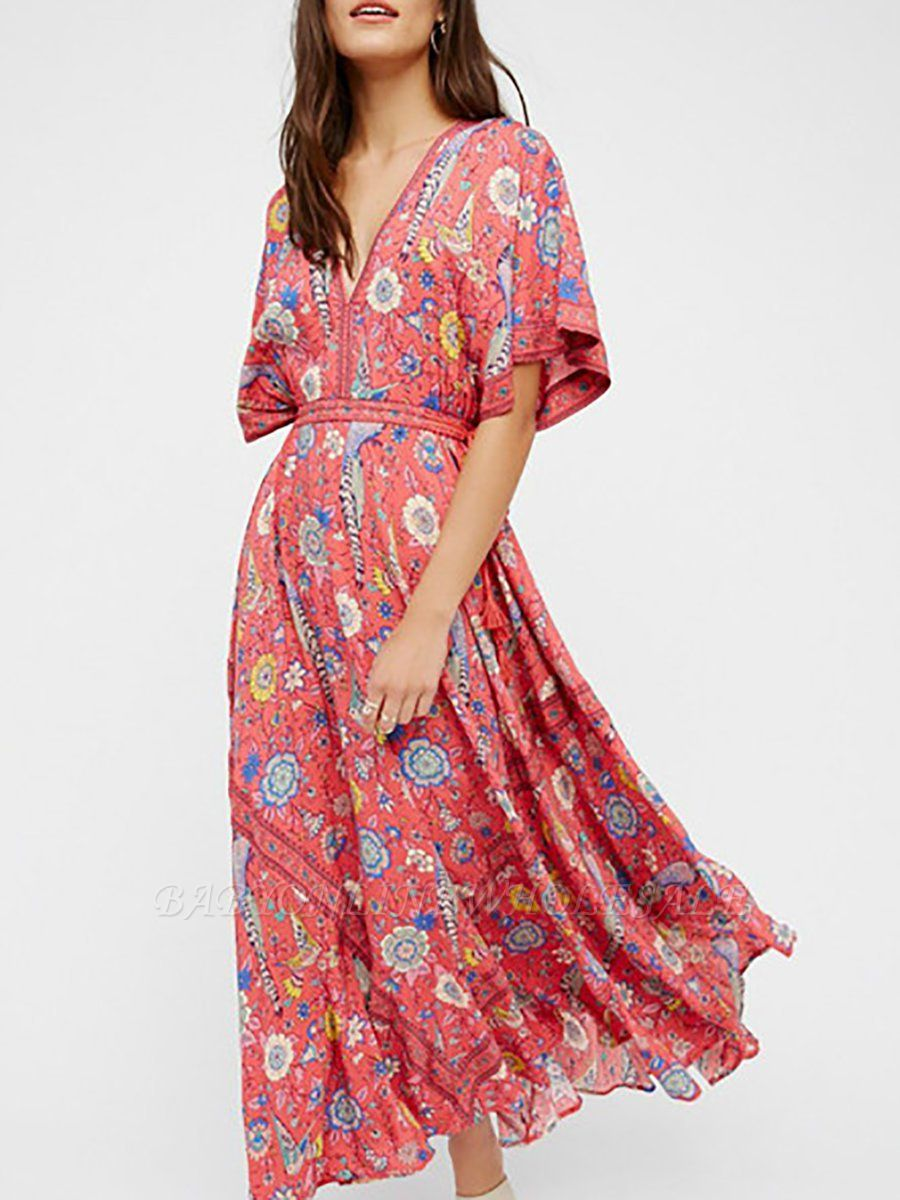 V neck Maxi Dress Swing Beach Boho Printed Dress