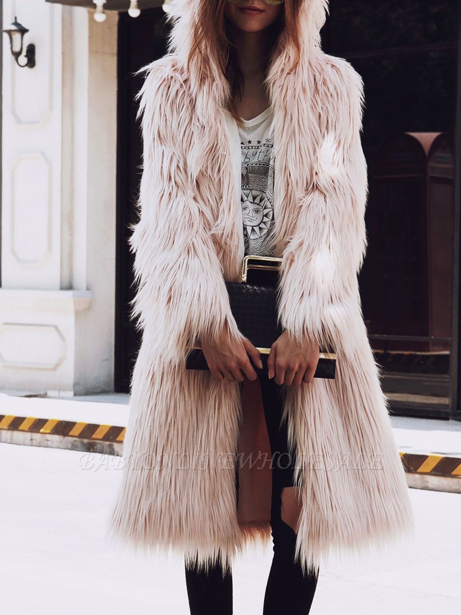 Hoodie Long Sleeve Fluffy Fur and Shearling Coat