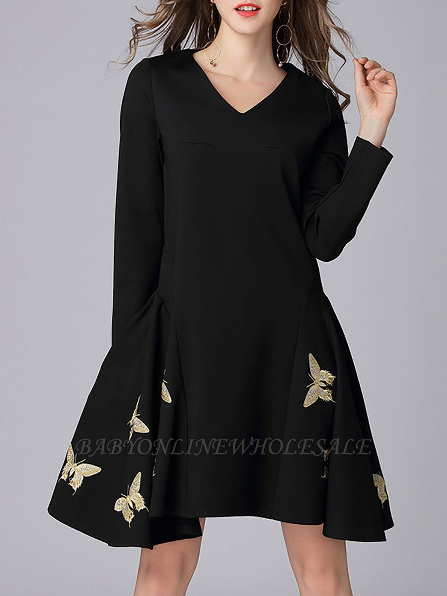 V neck A-line Daily Elegant Embroidered Animal Midi Dress