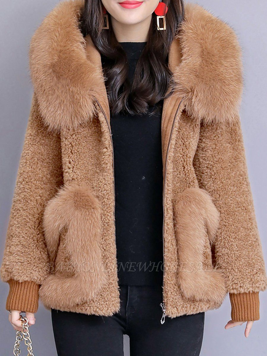 Hoodie Paneled Fluffy Solid Fur And Shearling Coats