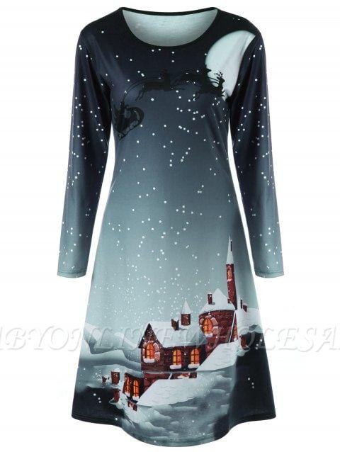 Weihnachten Plus Size Graphic Long Sleeve T-Shirt