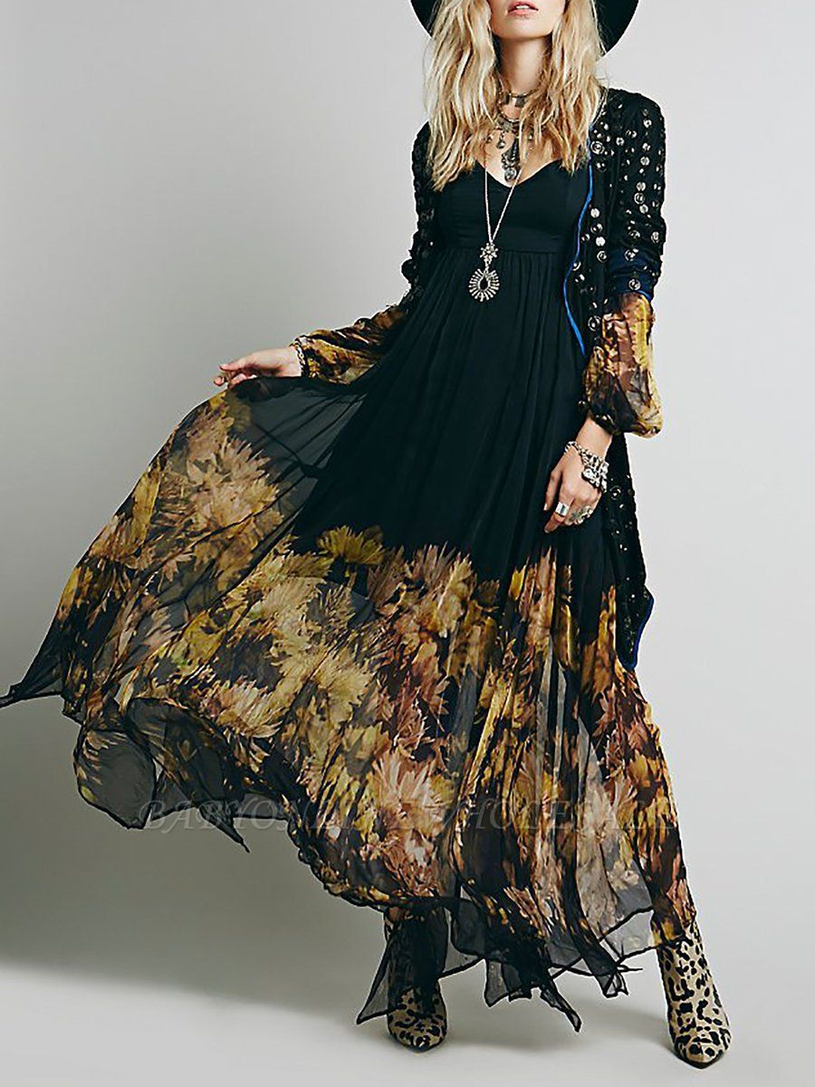 Swing Balloon Sleeve Floral-print See-through Look Maxi Dresses
