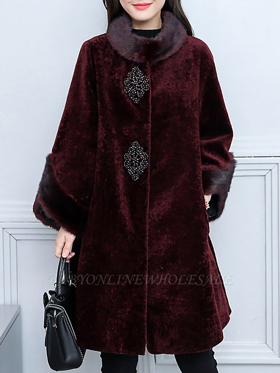 Long Sleeve Beaded Solid Buttoned Fur And Shearling Coats