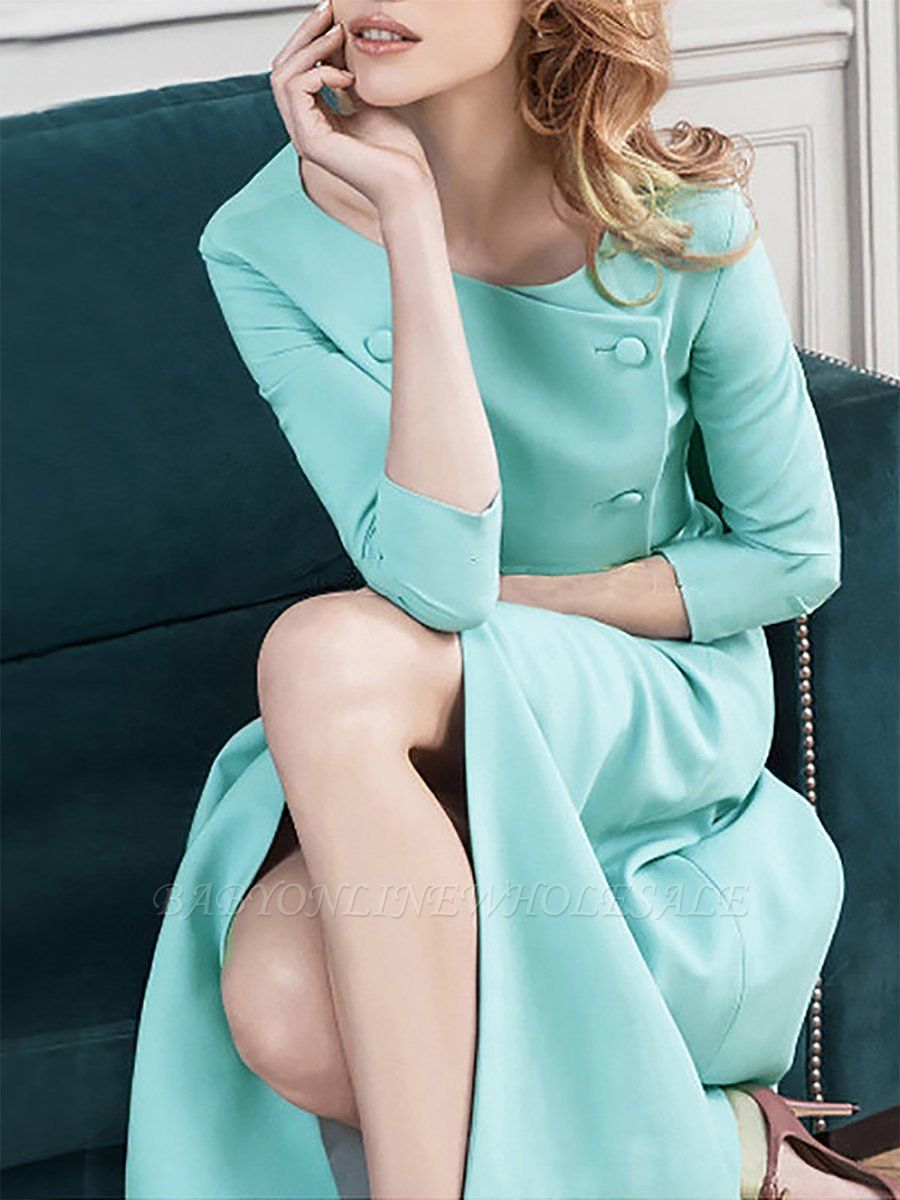 Work 3/4 Sleeve Slit Solid A-line Bateau/boat neck Midi Dress