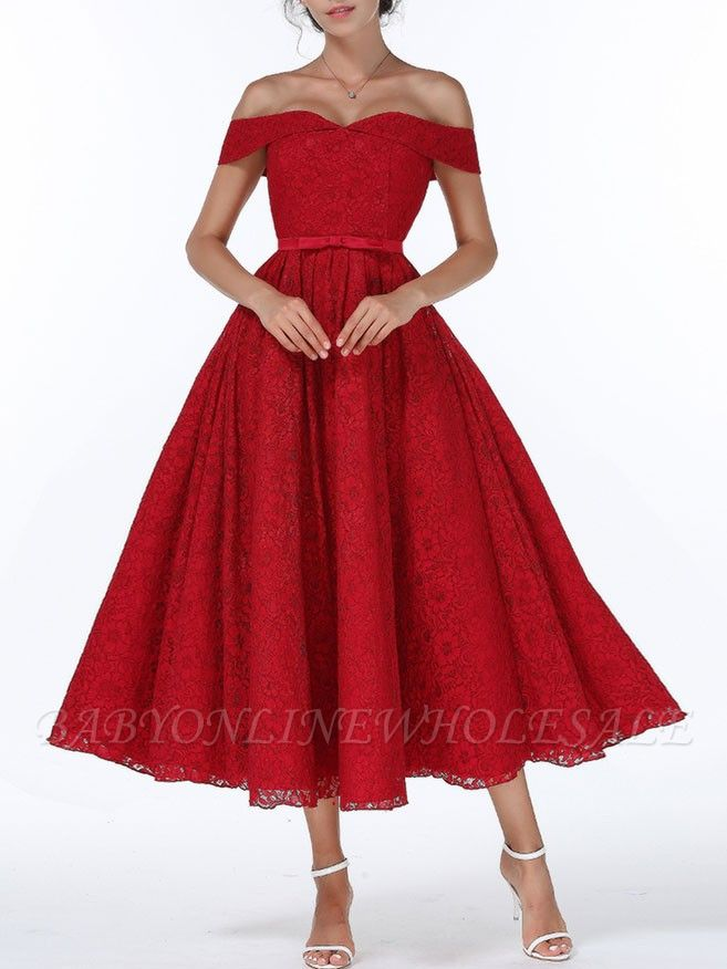Christmas Party Long Homecoming Dresses Red Off The Shoulder Lace Midi Swing Evening Gowns Prom Dress