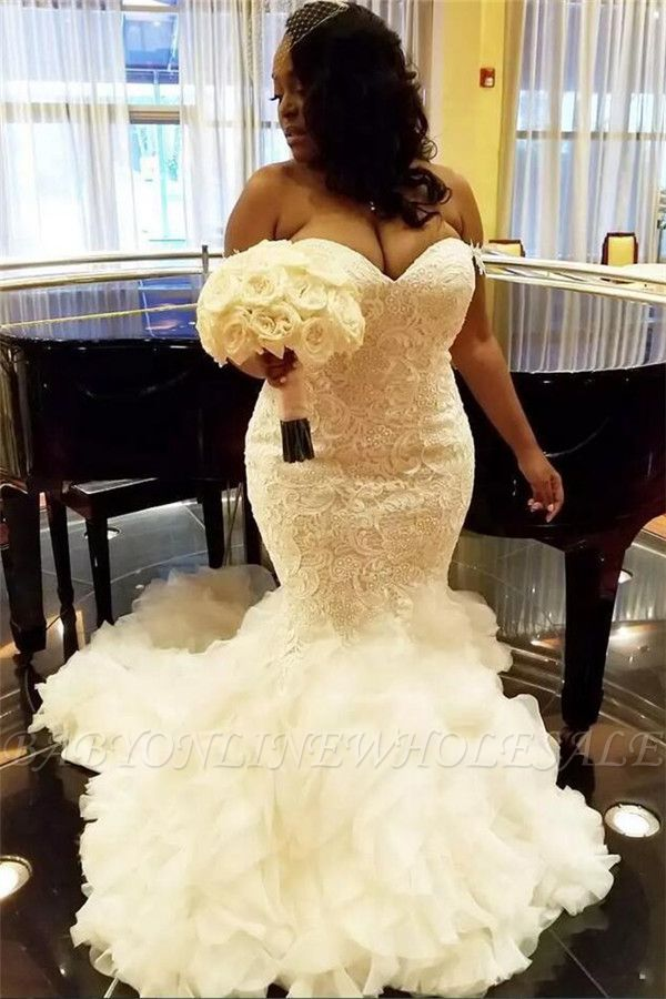 Wholesale Sweetheart Fit and Flare Lace Wedding Dresses   TieScarlet Ruffles Tulle Cheap Bridal Dress with Court Train