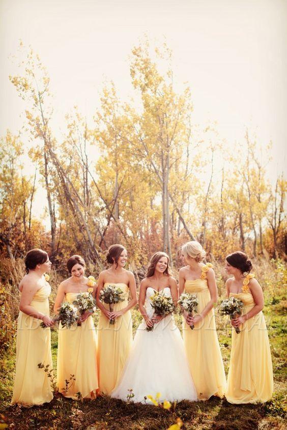 Nuevo vestido de dama de honor largo amarillo gasa de un solo hombro