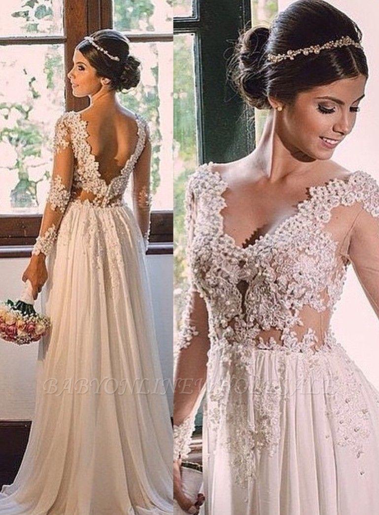 Vestido de novia sin espalda de encaje de gasa con cuello en V una línea simple