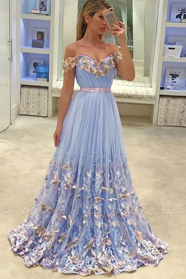 Gorgeous New in Off The Shoulder Evening Dresses | Tulle Flowers Open Back Prom Dress