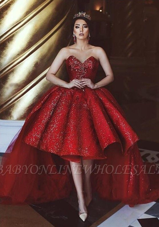 Glamorous Tulle Hi-Lo Prom Gowns   2019 Sequins Sweetheart Tulle Evening Party Gowns