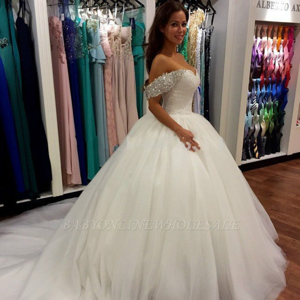 Off Shoulder Ball Gown Wedding Dress Sweeheart Crystals Wedding Gowns