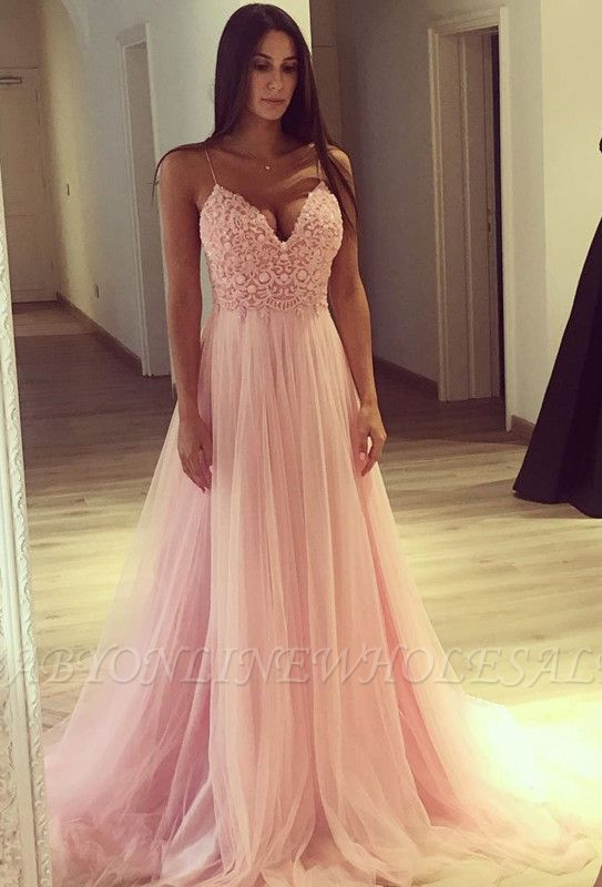 Spaghetti Strap V-Neck Pink Prom Dress Long Tulle Party Gowns BA7939