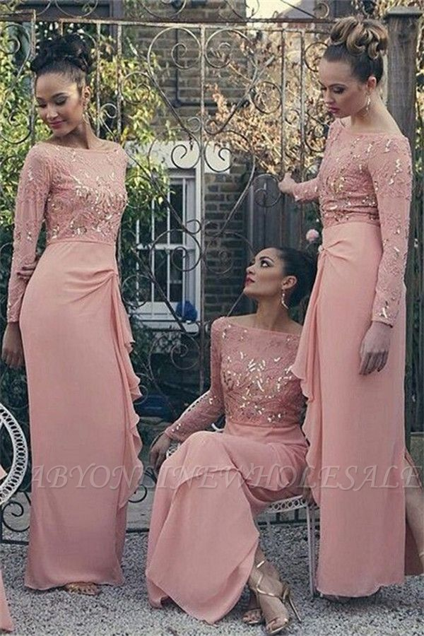 Bateau Long Sleeve Bridesmaid Dresses Pink Chiffon Long Sexy Dress for Maid of Honor