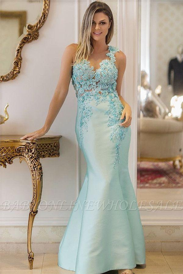 Elegante Himmelblau Abendkleider Lang | Spitze Abendkelider Meerjungfrau