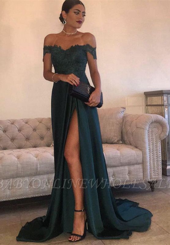 THERESA | A-line Floor Length Split Off-the-Shoulder Lace Prom Dresses