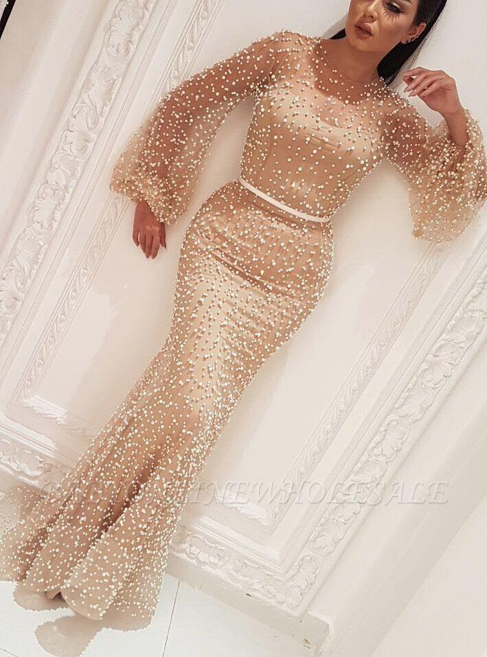 Robes de bal sexy manches longues 2021 | Robes de Soirée Perlées Gaine Pas Cher BC0932