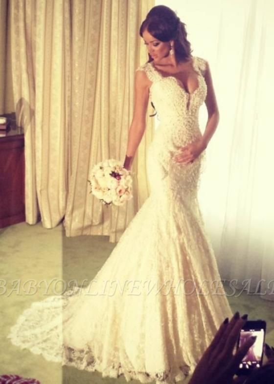 Sexy Mermaid V-neck Wedding Dress Sparkly Lace Bridal Gowns BO4457
