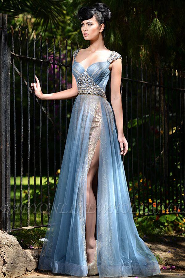 Stilvolle lange blaue formale Abendkleider Online | Tüll kristall sexy schlitz prom kleider billig
