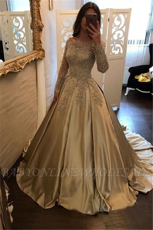 A-Line Evening Dresses Bateau Neck Long Sleeves Lace Appliques Prom Dresses
