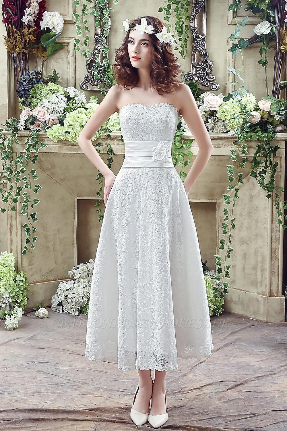 Elegant Sweetheart Lace Wedding Dress Ankle Length Empire Bridal Gown