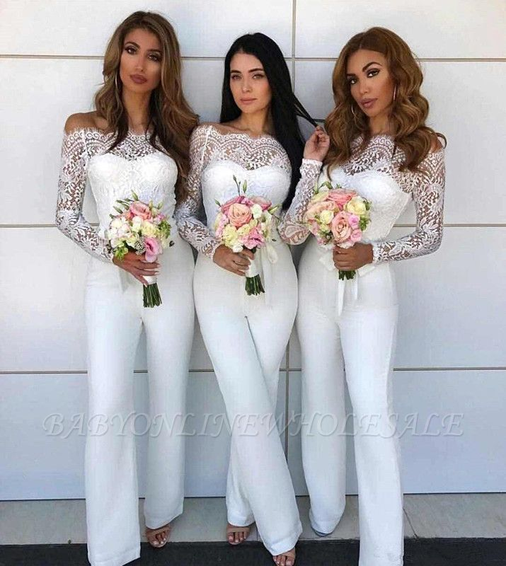 Off Shoulder Lace Jumpsuit Bridesmaid Dresses | Long Sleeves Sheath Wedding Party Pants