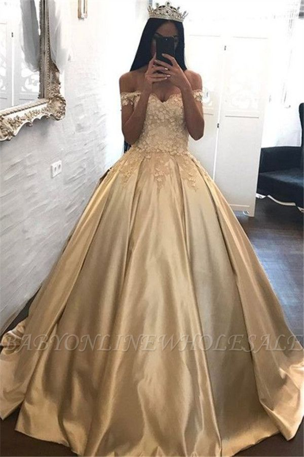 Off The Shoulder Champagne Gold Ball Gown Evening Dress Appliques Quinceanera Dresses FB0212