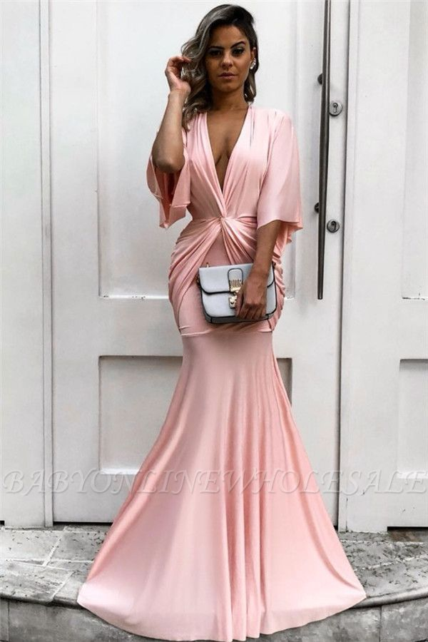 Chic Half Sleeves Deep V-neck Pink Evening Dresses | Sexy Mermaid Formal Dresses with Pleats bc1771