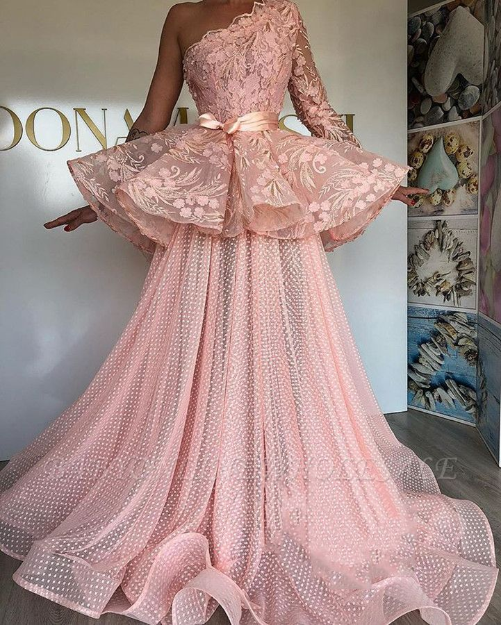 Glamorous A-Line Prom Dresses | Pink Lace Long Sleeve Evening Gowns