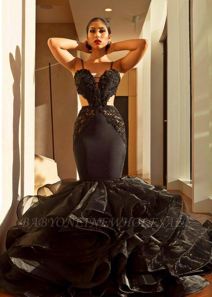 Sexy Black Abendkleid | Spitze Meerjungfrau Rüschen Abendkleid