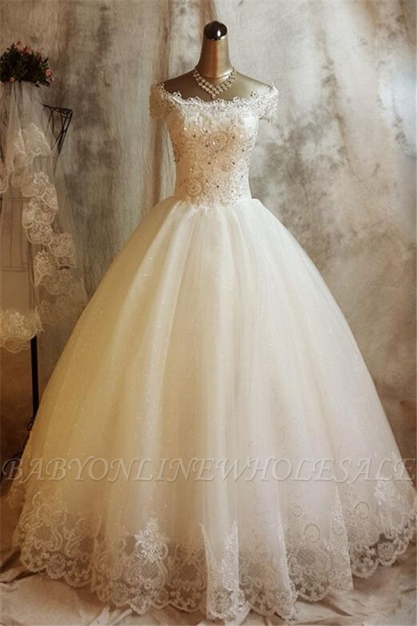 Glamorous Lace Ball Gown Wedding Dress for Princess Appliques Bride Dresses
