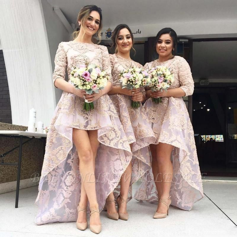Half Sleeves Lace High Front Low Back Bridesmaid Dresses Cheap Wedding Party Dress