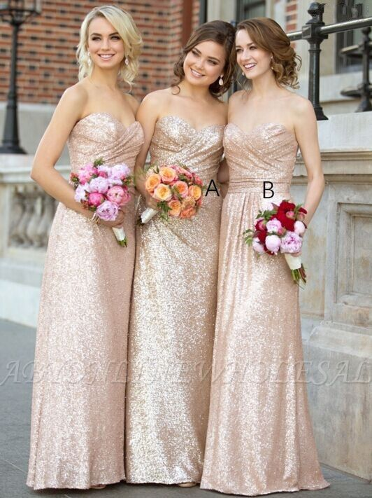 Sequins Sweetheart-Neck Sleeveless Ruched Long Bridesmaid Dresses