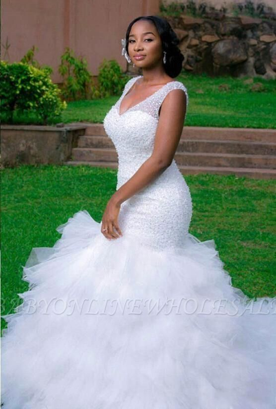 Sexy Mermaid V-neck Wedding Dresses Sleeveless Beading Court Train Bridal Gown