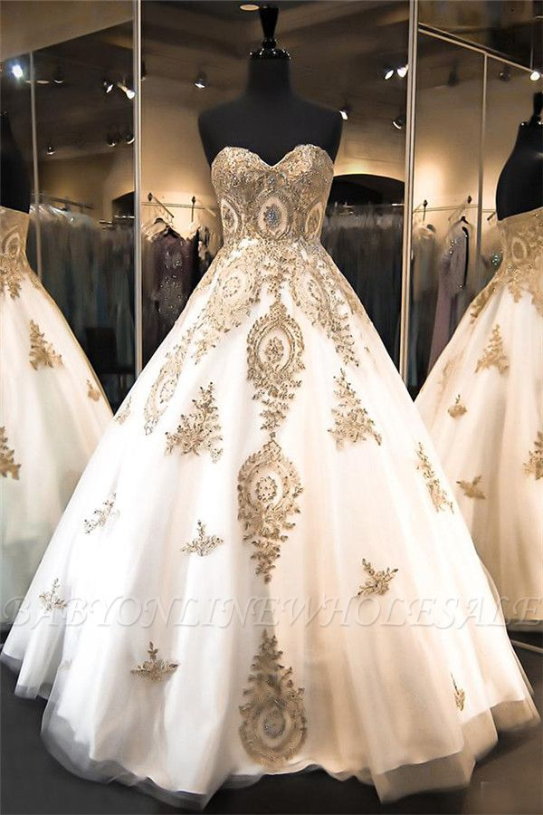 Elegant Sweetheart Gold Lace Wedding Dresses Sparkly Ball Gown Bridal Dress BA2175
