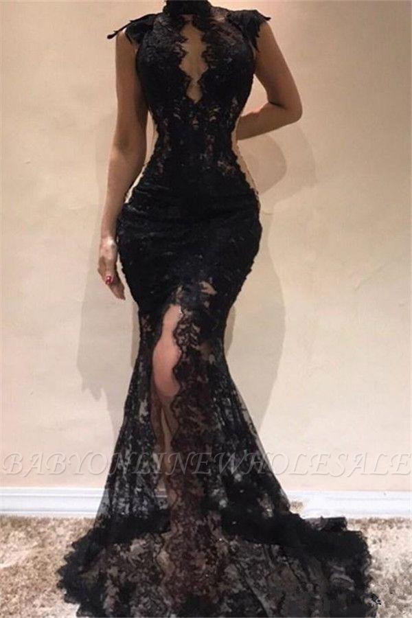 Sleeveless Front Split Evening Dresses | Black High Neck Lace Sexy Prom Dresses