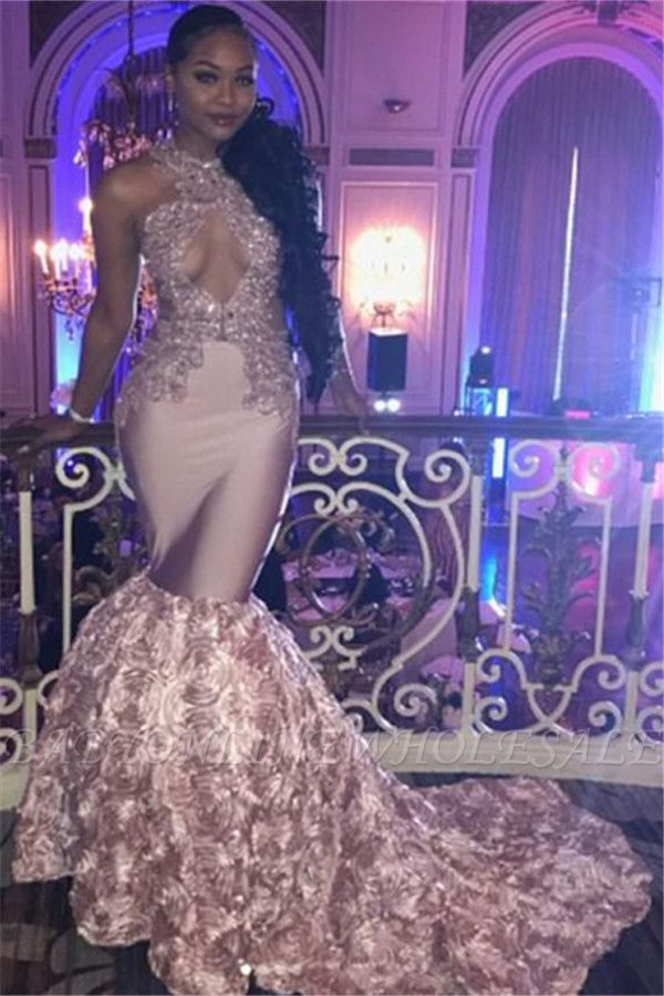 Pink Lace Prom Dress | Mermaid Evening Gowns With Bottom Flowers BA7910