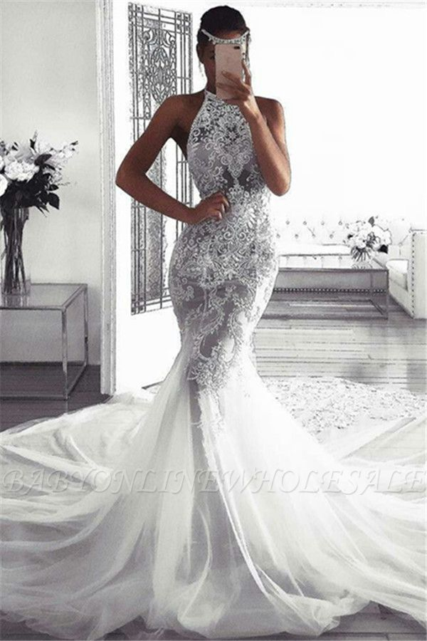Elegant Sleeveless Halter Wedding Dresses | Sexy Mermaid Tulle Bridal Dresses