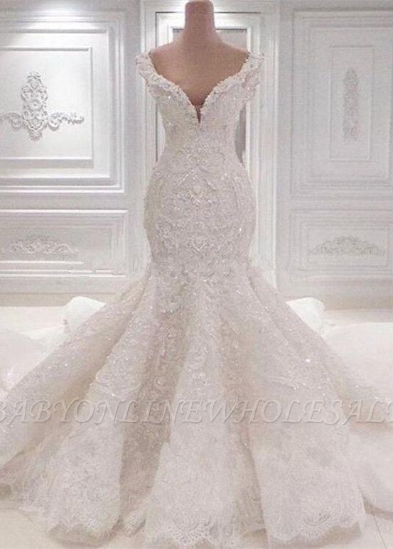 Роскошное свадебное платье Русалка с открытыми плечами   2021 Кружева АппликацииСвадебные платья BC0221