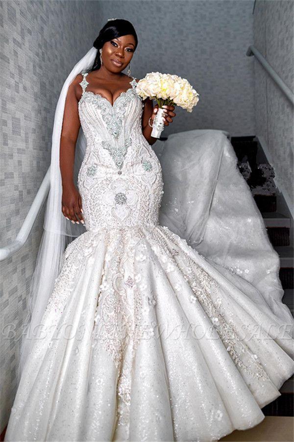 Robe de mariée chérie de luxe à bretelles spaghetti   Appliques de perles sirène robes de mariée BC4181