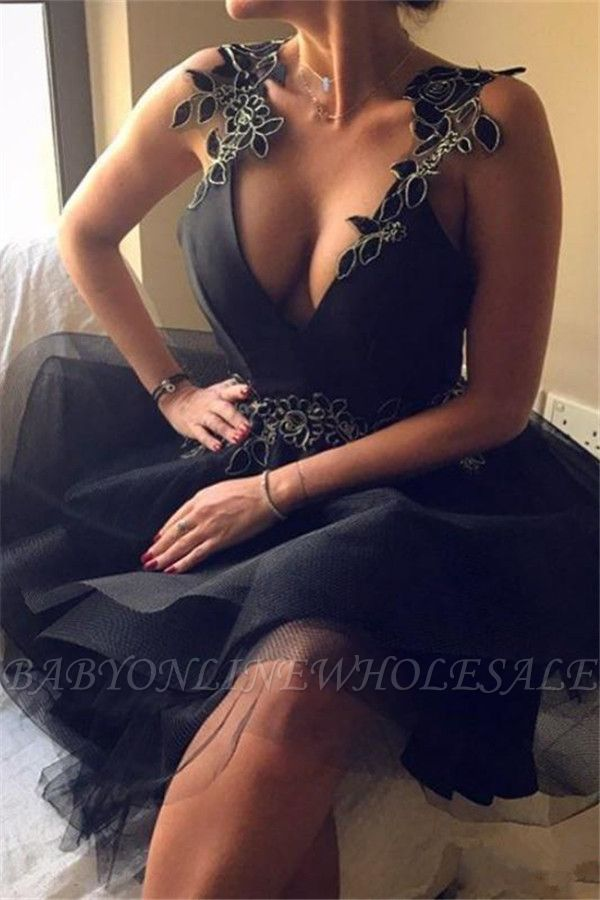 sexy escote en v sin espalda apliques sin espalda una línea de vestido de regreso a casa corto SK0002