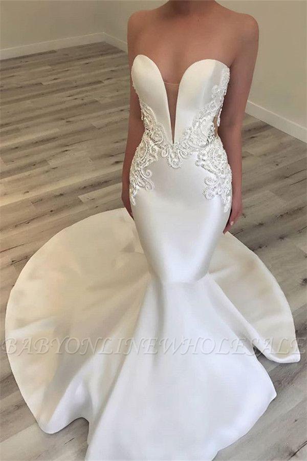 Elegante Schatz-Nixe-Satin-Brautkleider | Sexy Lace Open Back Brautkleider 2019 BC0628