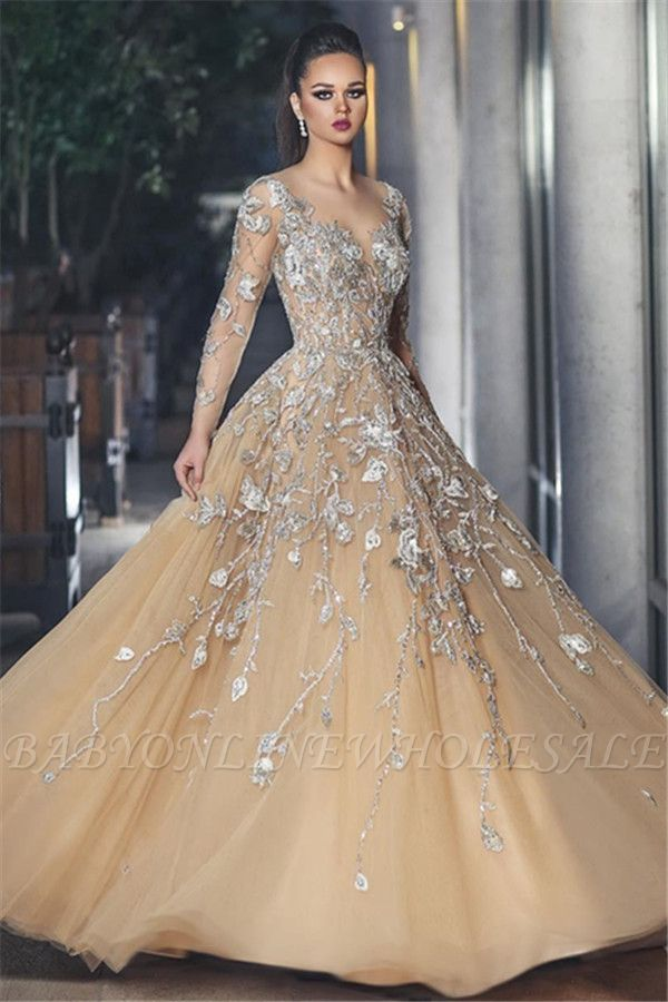 Stunning Illusion Long Sleeve Sexy Evening Gowns | A-line Lace Appliques Tulle Prom Dress