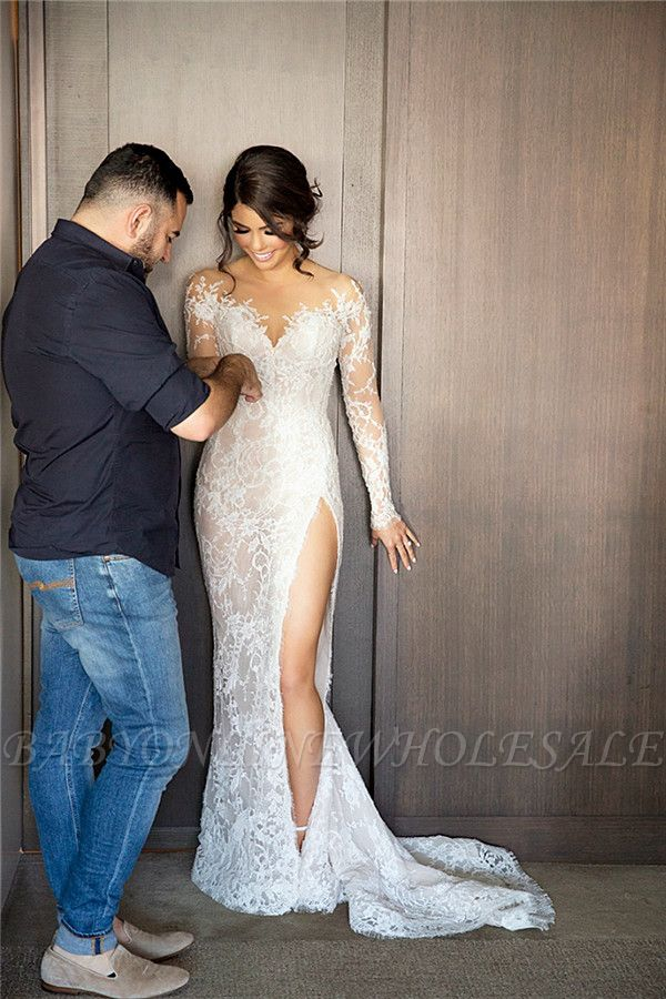 New Full Lace Split Wedding Dresses Illusion Back Bridal Gowns with Detachable Satin Skirt
